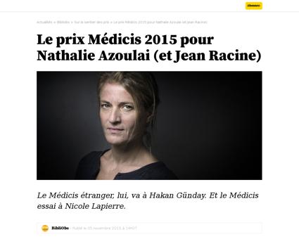 Le prix medicis 2015 pour nathalie azoul Nathalie