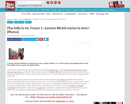 Plus belle la vie france 3 antoine miche Johanna