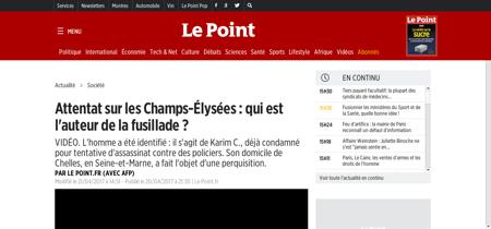 Paris coups de feu sur les champs elysee Karim