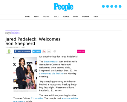 Jared padalecki welcomes second son Genevieve