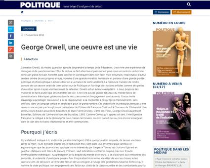 George orwell une oeuvre est une vie Georges