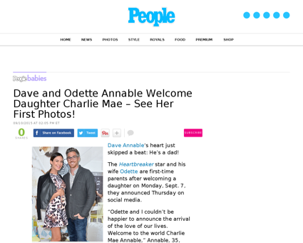 Dave annable odette annable welcome daug Odette
