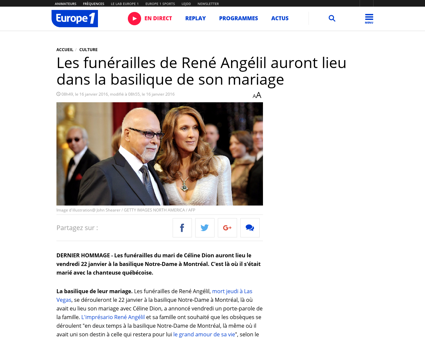 Les funerailles de rene angelil auront l Rene