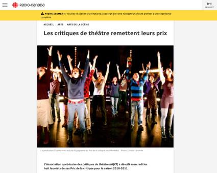 Prix critique theatre Sylvie
