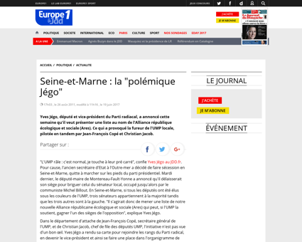 Seine et Marne Yves Jego a t il provoque Yves