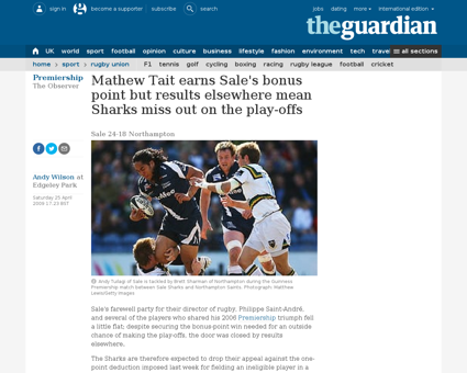 Premiership sale sharks northampton sain Sebastien