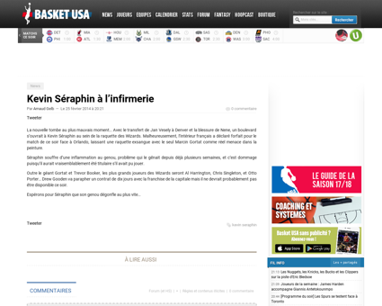 Kevin seraphin a linfirmerie Kevin