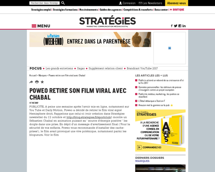 Poweo retire son film viral avec chabal Sebastien