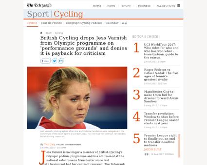 British cycling drops jess varnish from  Jess