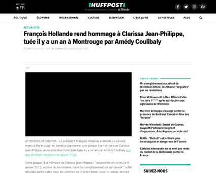 Francois hollande hommage clarissa jean  Ahmed