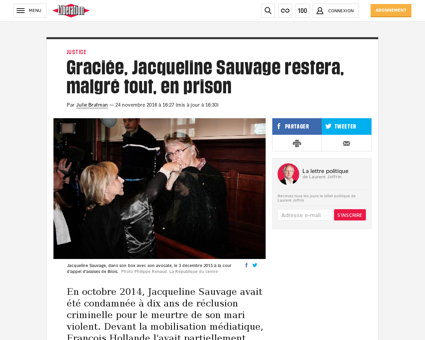 Graciee jacqueline sauvage restera malgr Jacqueline