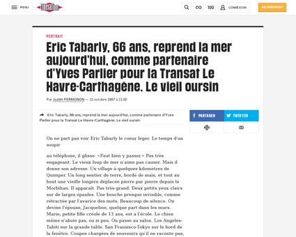 Eric tabarly 66 ans reprend la mer aujou Jacqueline