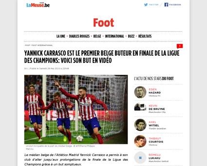 Yannick carrasco est le premier belge bu Yannick