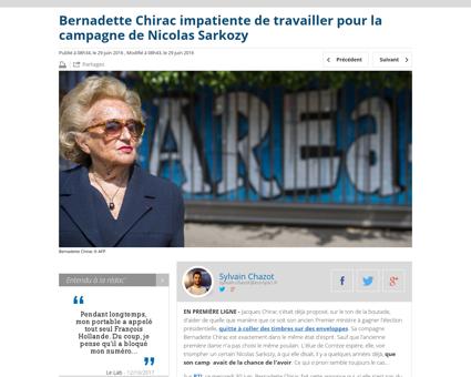 Bernadette chirac impatiente de travaill Laurence