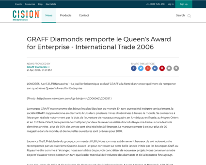 Graff diamonds remporte le queens award  Laurence