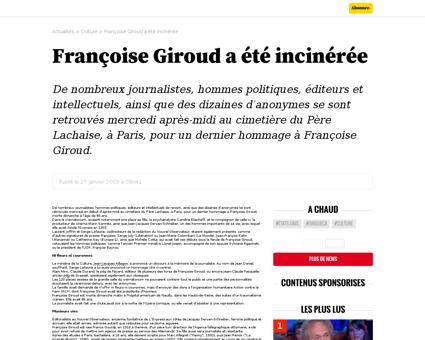 Francoise girouda ete incineree Francoise