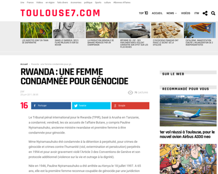 Rwanda une femme condamnee pour genocide Pauline